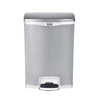 Slim Jim Step-On 24 Gal. White Stainless Steel Front Step Trash Can