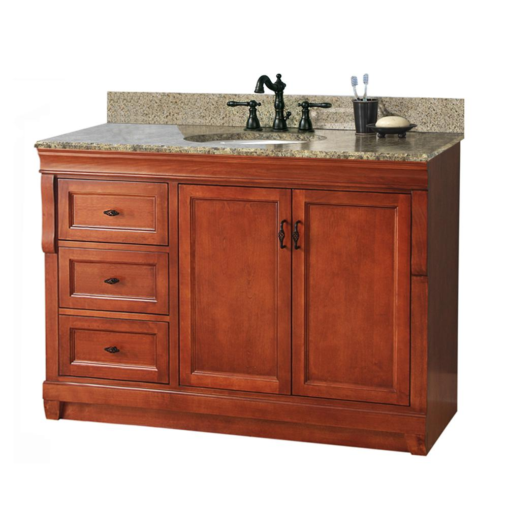 Foremost Naples 49 in. W x 22 in. D Bath Vanity in Warm Cinnamon with Left Drawers with Granite Vanity Top in Quadro