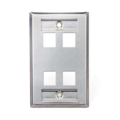 1-Gang QuickPort Standard Size 4-Port Wallplate with ID Windows, Stainless Steel