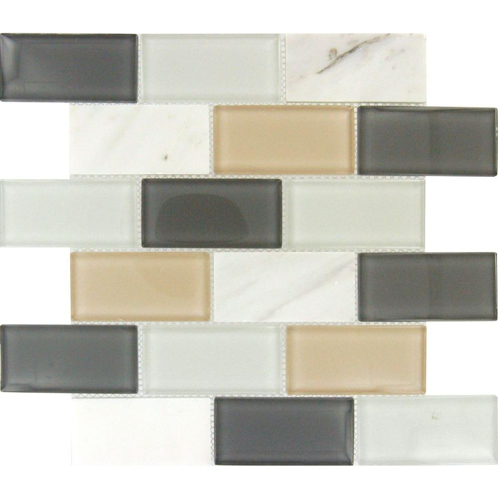 Msi Glacier Peak Subway 12 In X 8 Mm Gl And Stone Mesh Mounted Mosaic Tile Smot Sglst Gp8m The Home Depot