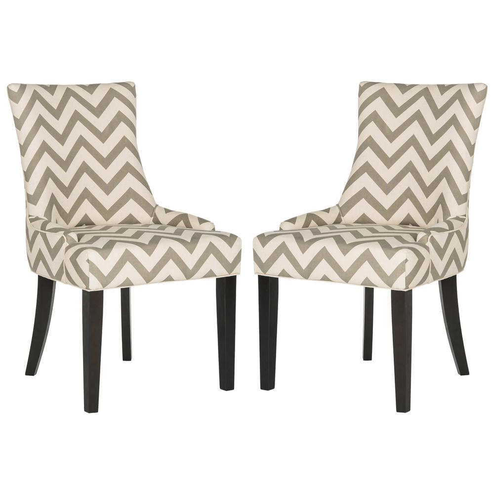 Lester Gray/White/Espresso 19 in. H Chevron Dining Chair (Set of 2)