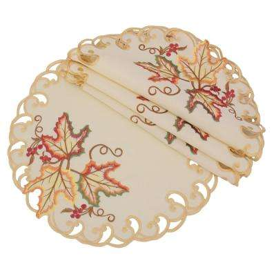 0.1 in. H x 12 in. W Round Moisson Leaf Embroidered Cutwork Fall Doilies (Set of 4)