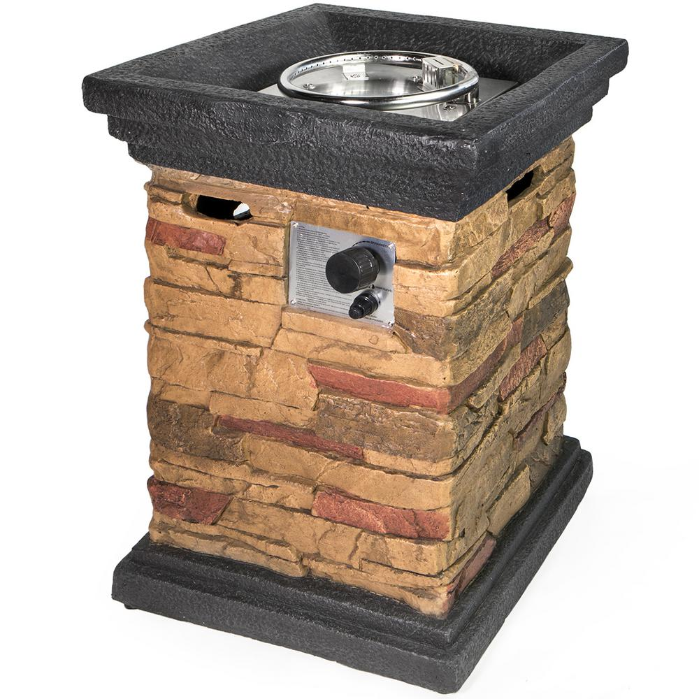XtremepowerUS 30 in. x 21.5 in. Aluminum Square Faux Stone Propane Fire Pit Column with Rocks and Weather Cover