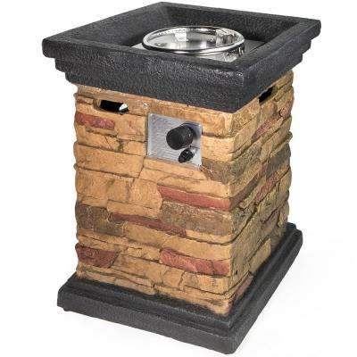 30 in. x 21.5 in. Aluminum Square Faux Stone Propane Fire Pit Column with Rocks and Weather Cover