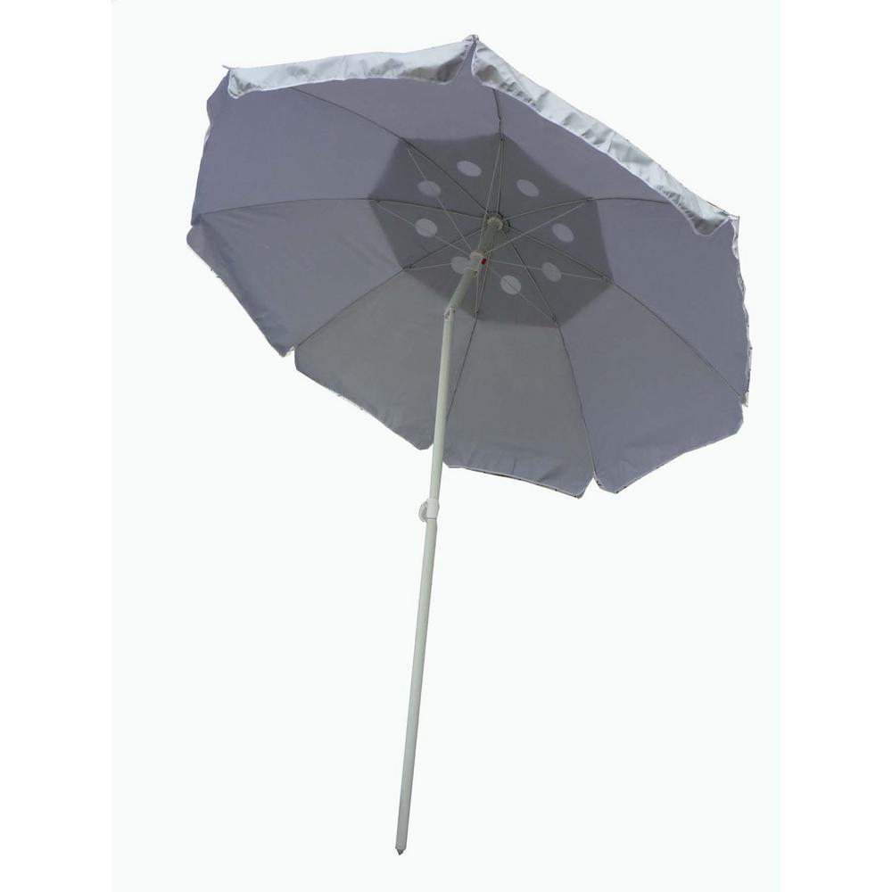 6 ft. Tilt Beach Patio Umbrella Base in Silver with Solar Guard