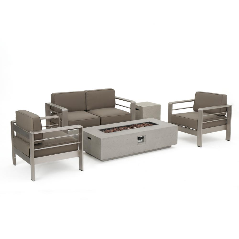 Noble House Valentina 10-Piece Aluminum Patio Fire Pit Conversation Set with Khaki Cushions and Sectional and Lounges