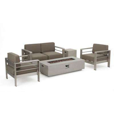 Valentina 10-Piece Aluminum Patio Fire Pit Conversation Set with Khaki Cushions and Sectional and Lounges