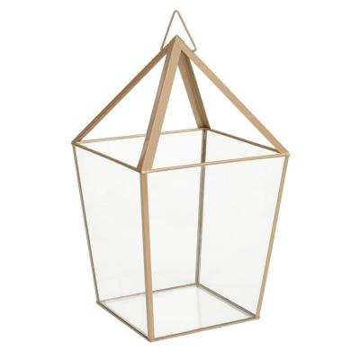 15.7 in. Metal and Glass Outdoor Patio Terrarium
