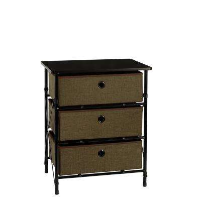 19 in. x 23.25 in. Sort and Store 3-Bin Organizer in Brown