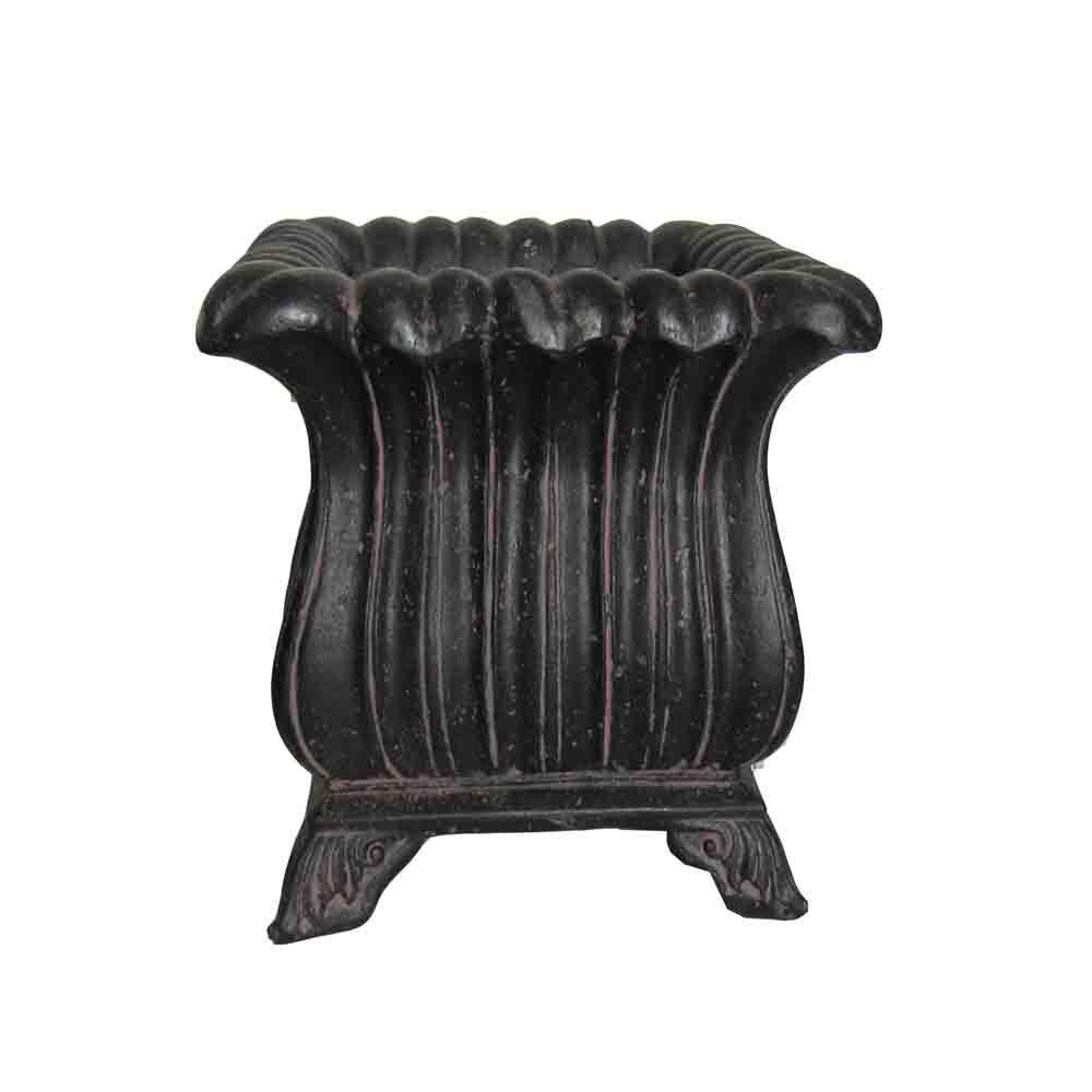15-1/4 in. Square Aged Charcoal Cast Stone Footed Pot