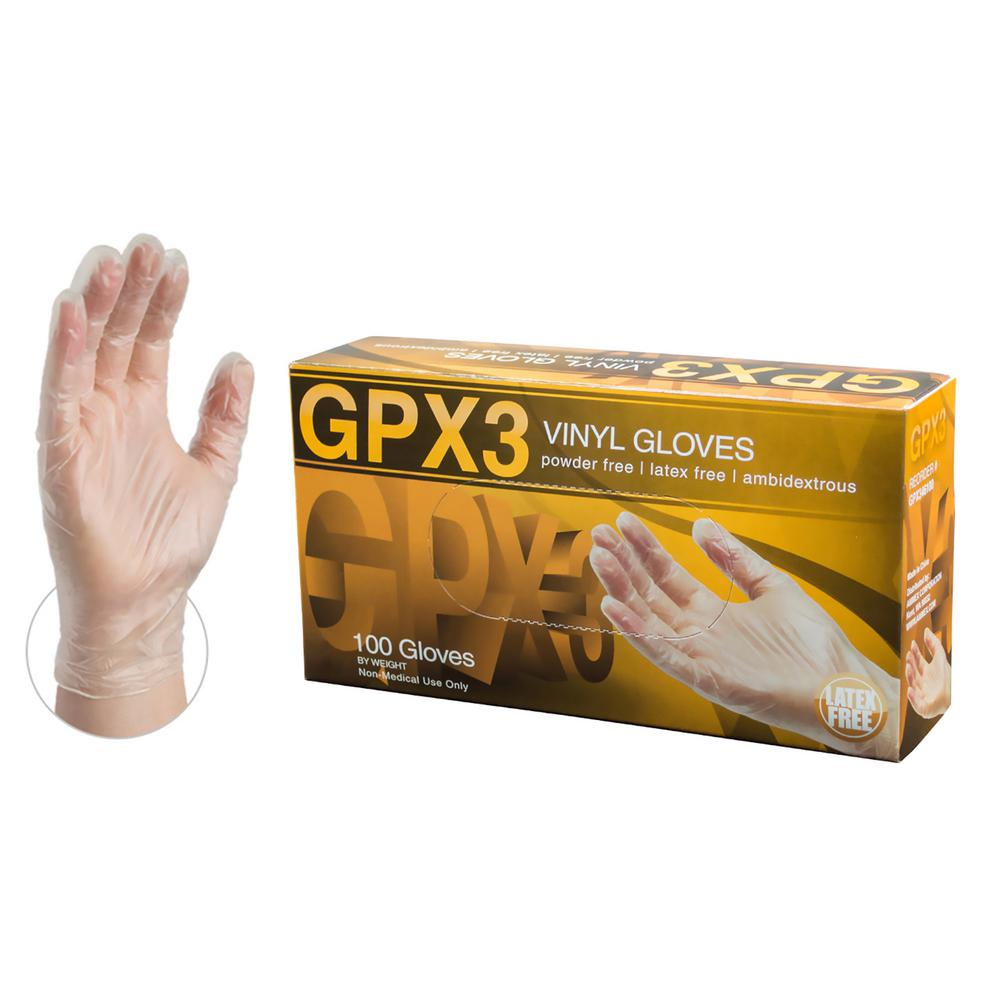 GPX3 Clear Vinyl Industrial Latex Free Disposable Gloves (Box of 100)