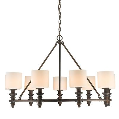 Beckford RBZ 9-Light Rubbed Bronze Chandelier with Opal Glass Shade