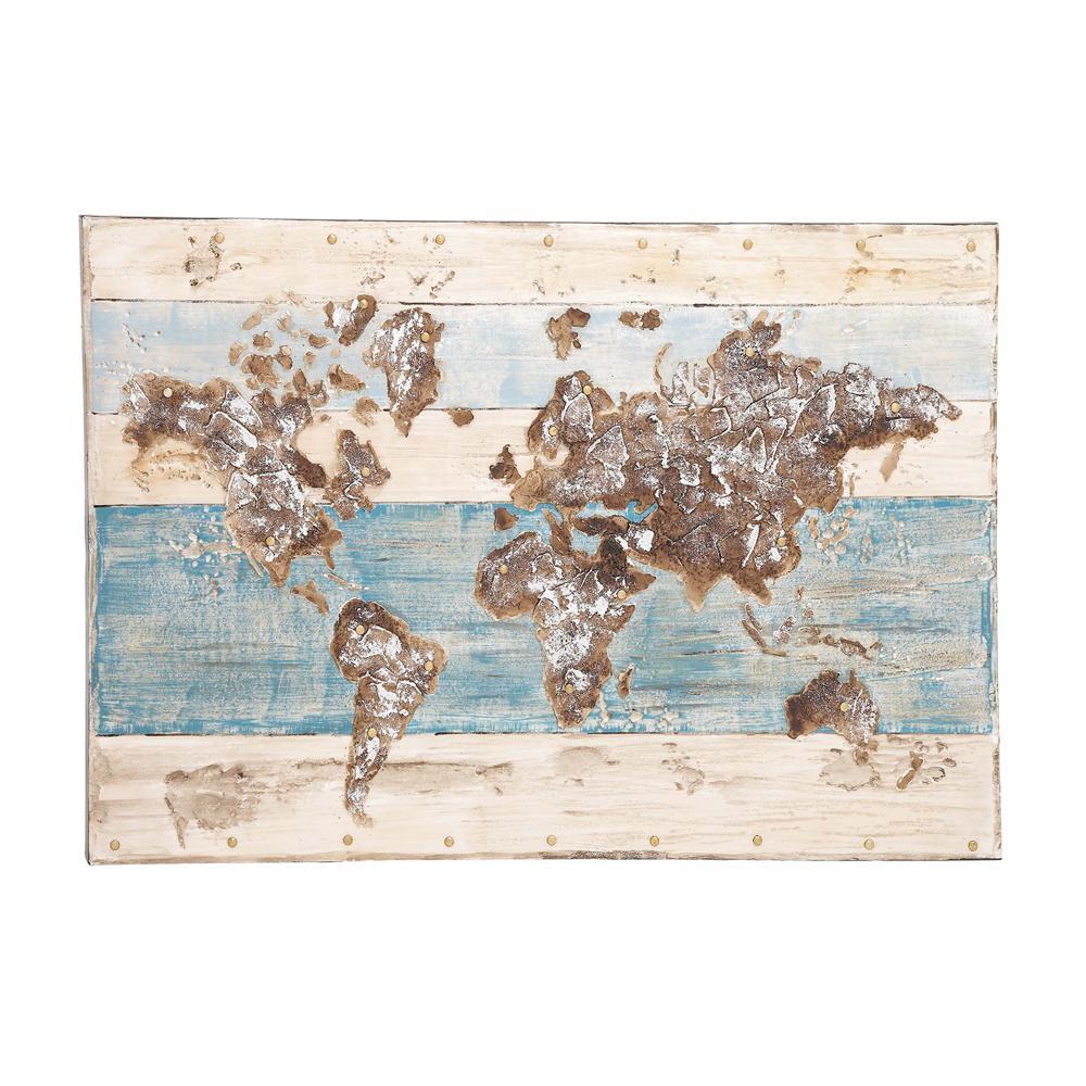 Litton Lane Rustic World Map Framed Canvas Wall Art 38511 The