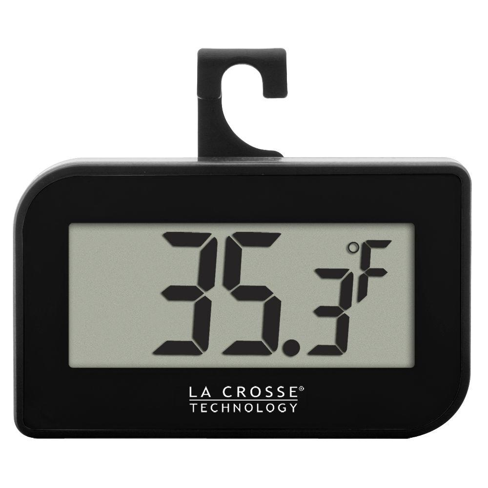 La Crosse Technology Small Black Digital Thermometer With Hook