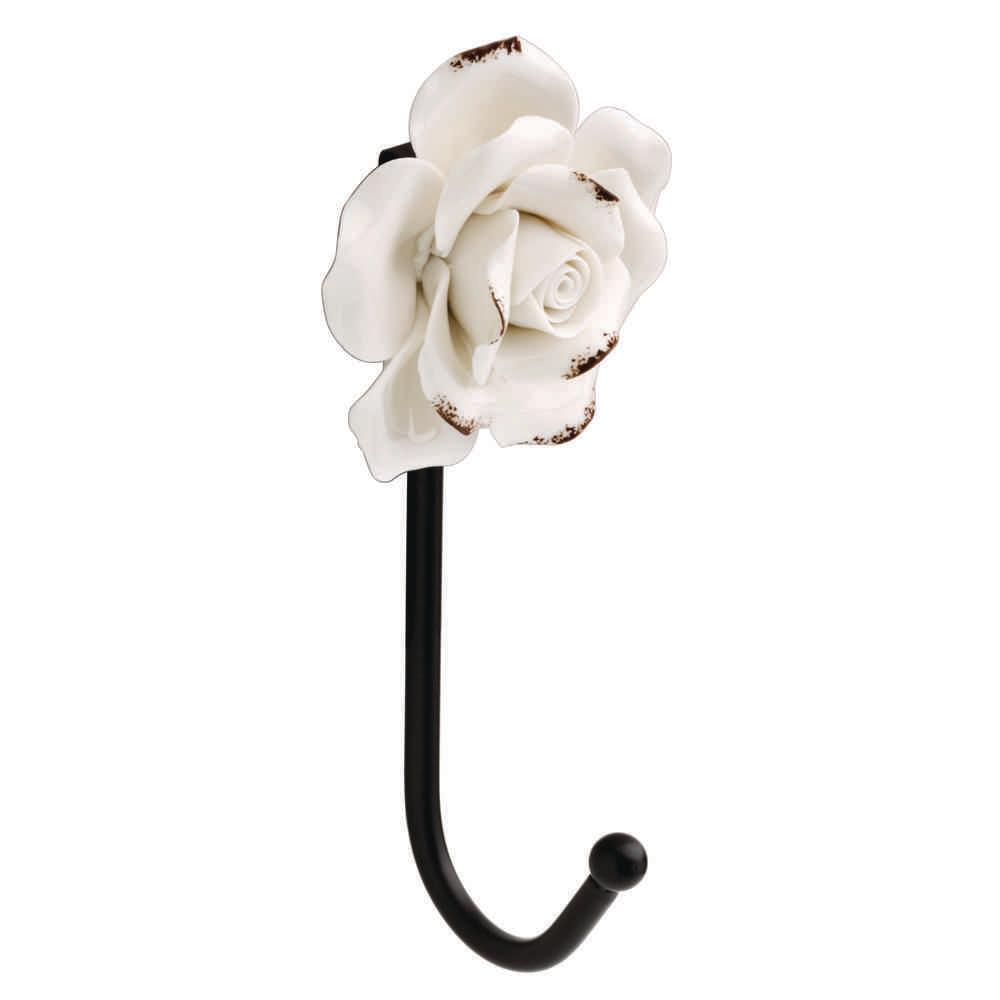 Black Wall Hook with White Flower