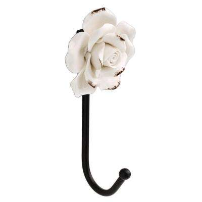 6-1/3 in. Black Wall Hook with White Flower