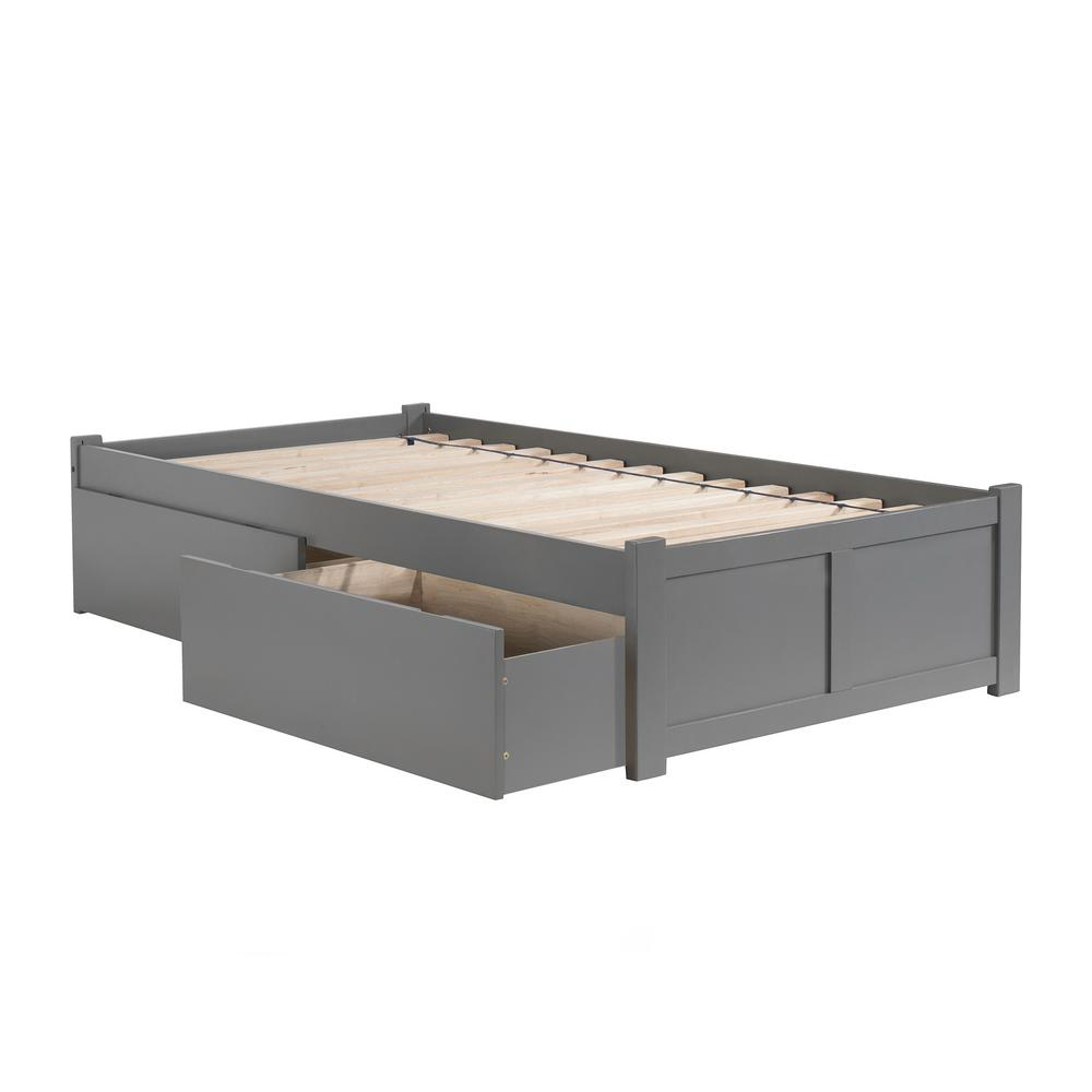 Atlantic Furniture Concord Twin Platform Bed With Flat Panel Foot Board And 2 Urban Drawers