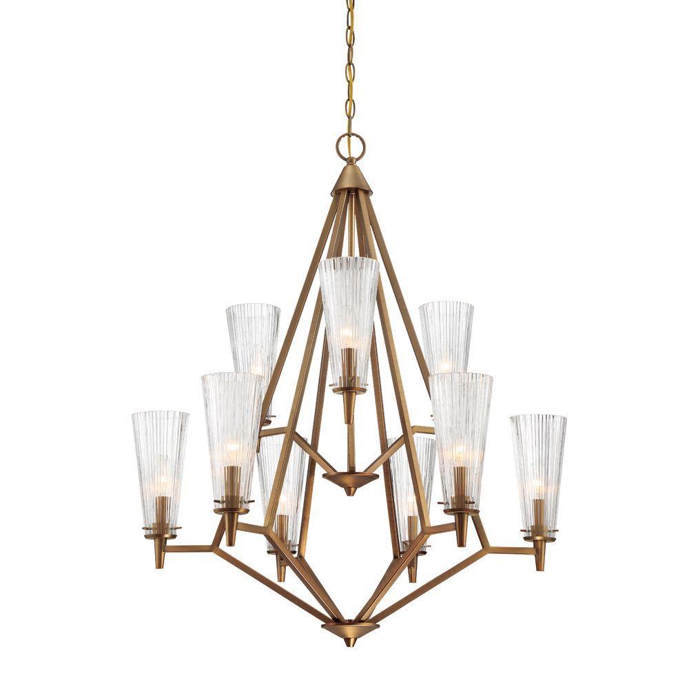 Designers Fountain Montelena 9-Light Old Satin Brass Interior Chandelier