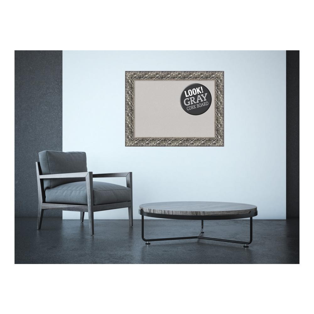 Silver Luxor Wood 34 in. x 26 in. Framed Grey Cork Board