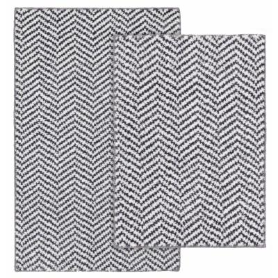 Palazzo II Cinder Gray and White 21 in. x 34 in. Cheveron Nylon Polyester 2-Piece Bath Mat Set