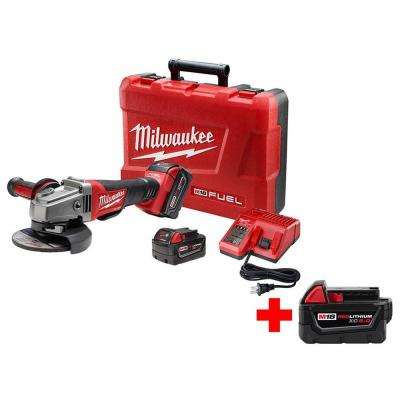 M18 FUEL 18-Volt Lithium-Ion Brushless Cordless 4-1/2 in./5 in. Grinder No-Lock W/ Free M18 5.0Ah Battery