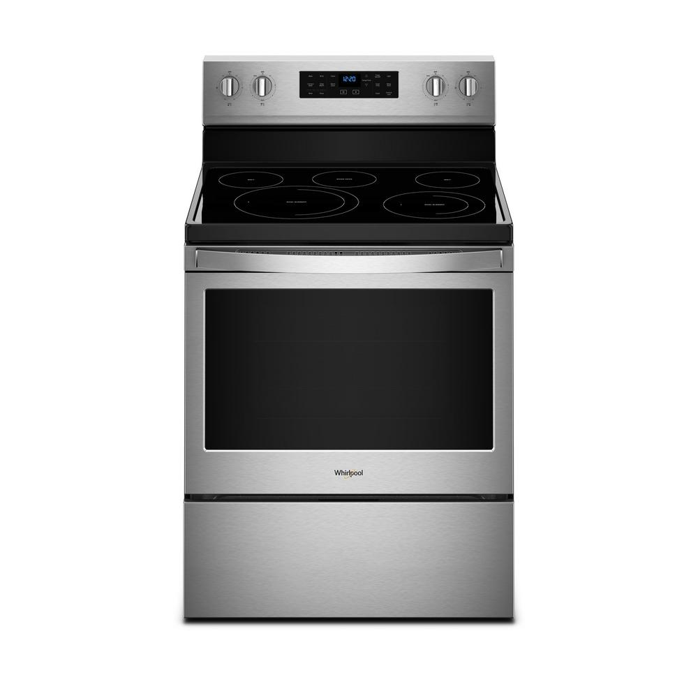 Whirlpool 5 3 Cu Ft Electric Range With Self Cleaning Convection Oven In Fingerprint
