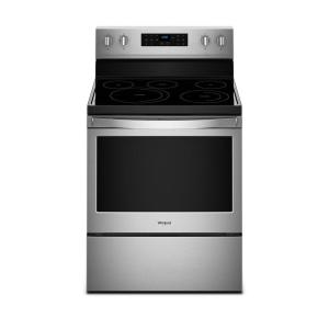 Click here to buy Whirlpool 30 inch 5.3 cu. ft. Electric Range with Self-Cleaning Convection Oven in Fingerprint Resistant Stainless Steel by Whirlpool.
