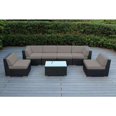 Ohana Black 7-Piece Wicker Patio Seating Set with Sunbrella Taupe Cushions