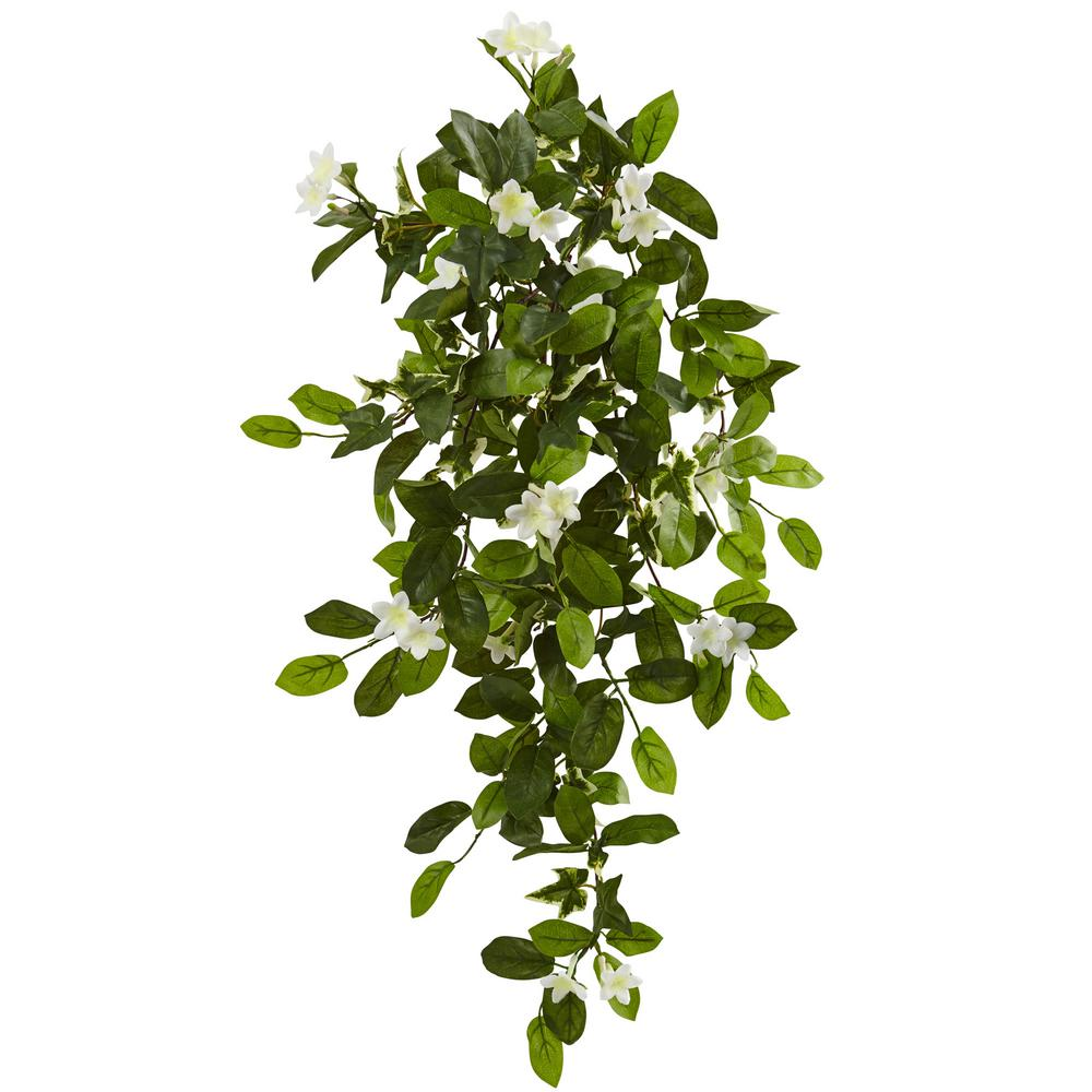 Nearly Natural Indoor 19 In Mixed Stephanotis And Ivy Hanging Artificial Plant 4 Set 6151 S4 The Home Depot