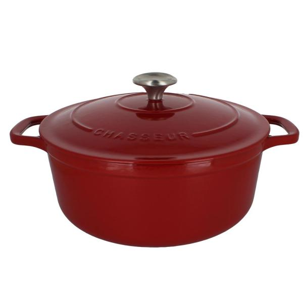 French Enameled 7.1 qt. Round Cast Iron Dutch Oven in Red with Lid