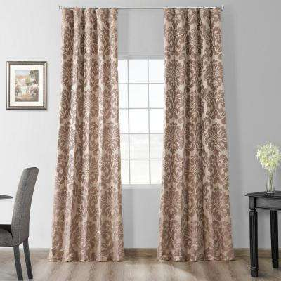 Astoria Taupe and Mushroom Faux Silk Jacquard Curtain Panel - 50 in. W x 96 in. L