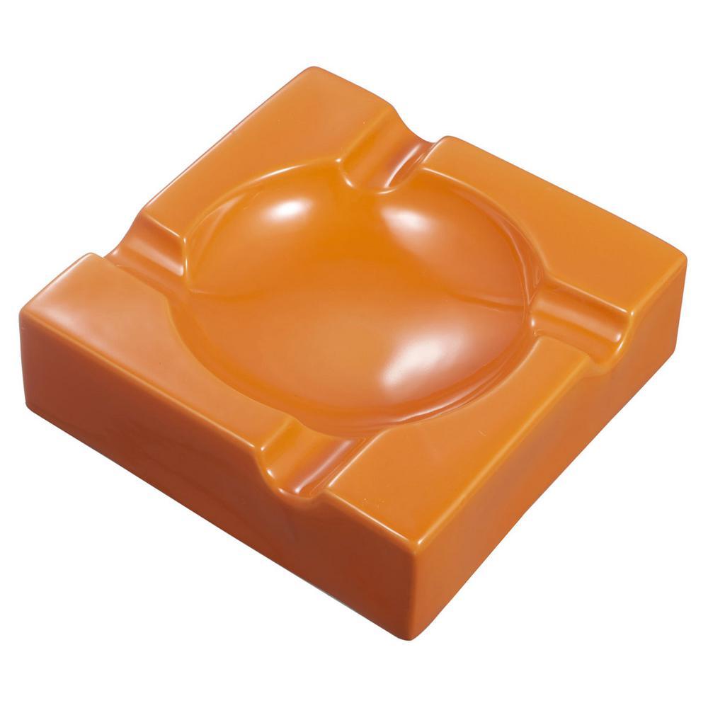 Donovan 8.25 in. Ceramic Cigar Ashtray For Patio Use, Orange