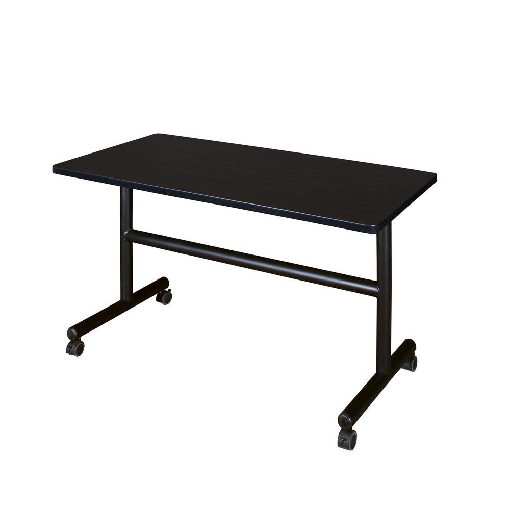 Kobe Mocha Walnut 48 in. W x 30 in. D Flip Top Mobile Training Table