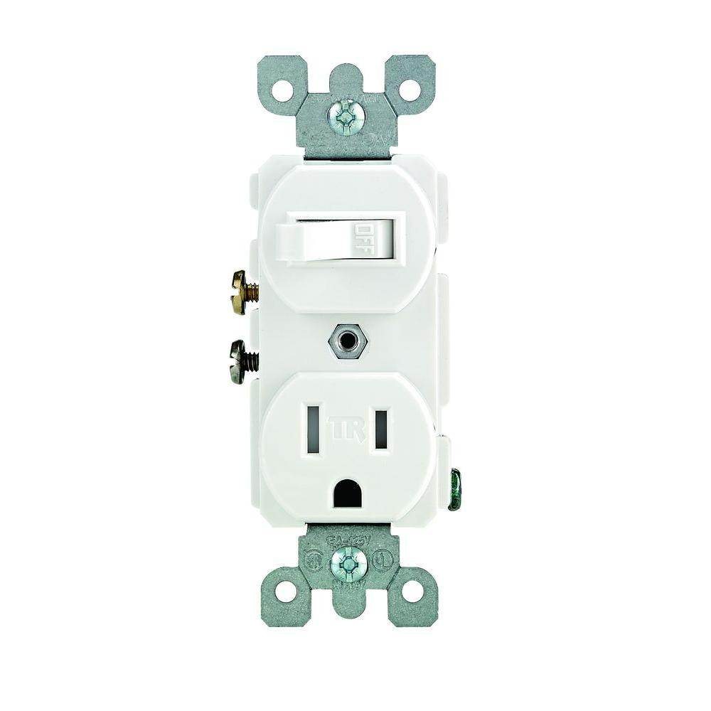 leviton 15 amp tamper-resistant combination switch and outlet,  white-r62-t5225-0ws - the home depot  the home depot