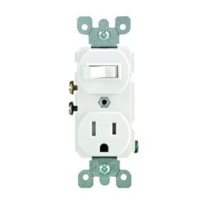 leviton 15 amp tamper resistant combination switch and outlet, white r62 t5225 0ws the home depot leviton t5225 wiring diagram leviton gfci receptacle wiring diagram