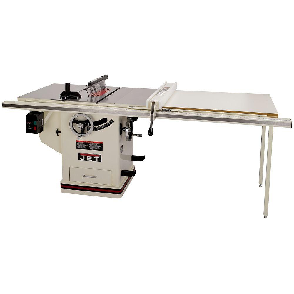 Jet 3 Hp 10 In Deluxe Xacta Saw Table With 50 Fence Cast Iron Wings And Riving Knife 230 Volt