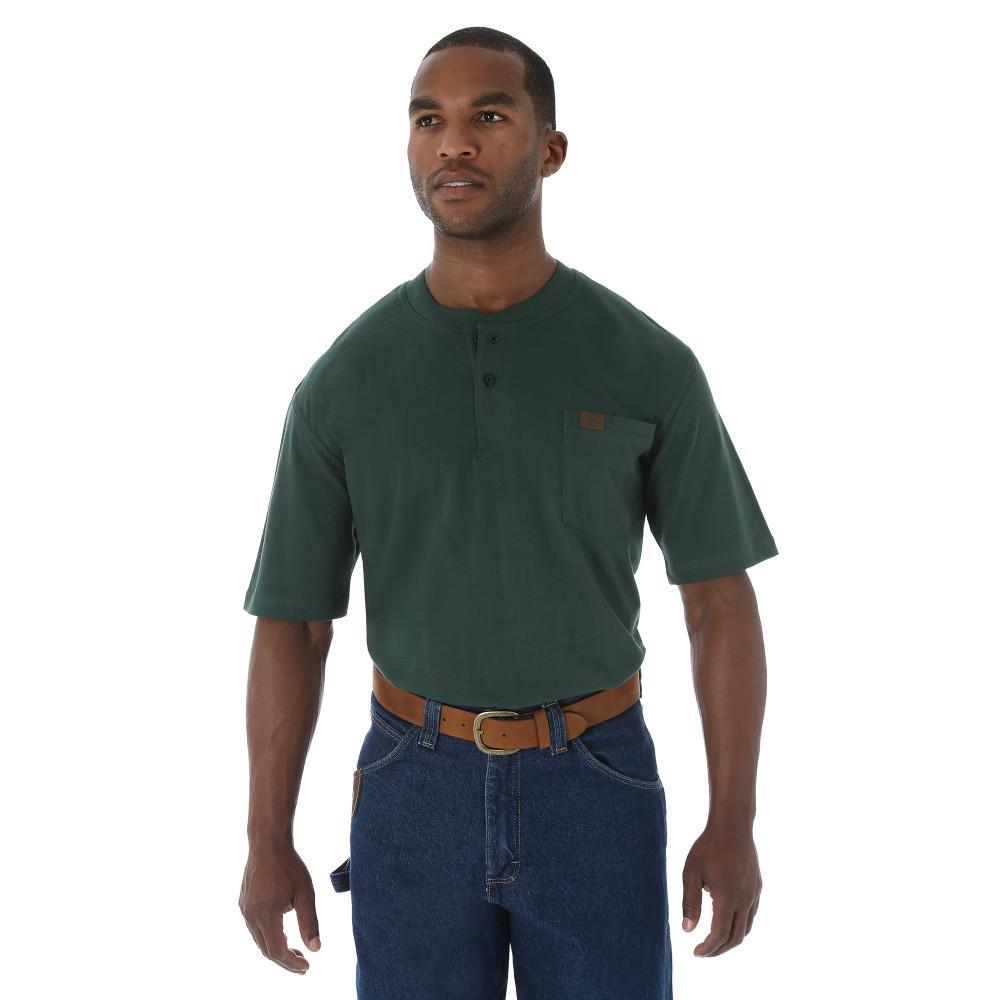 Men's Size Large Forest Green Short Sleeve Henley Shirt