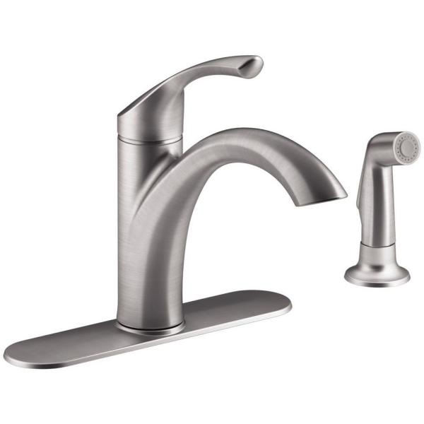 Mistos Single-Handle Standard Kitchen Faucet with Side Sprayer in Stainless Steel
