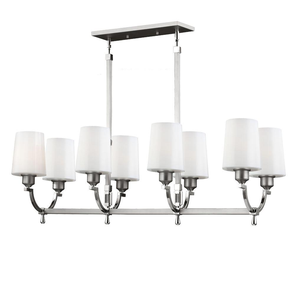 Feiss Preakness 8-Light Satin Nickel/Polished Nickel Billiard Island Chandelier