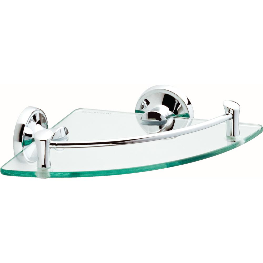 8 in. Glass Corner Shelf in Polished Chrome