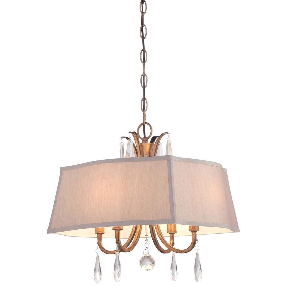 4-Light Vintage Gold Pendant