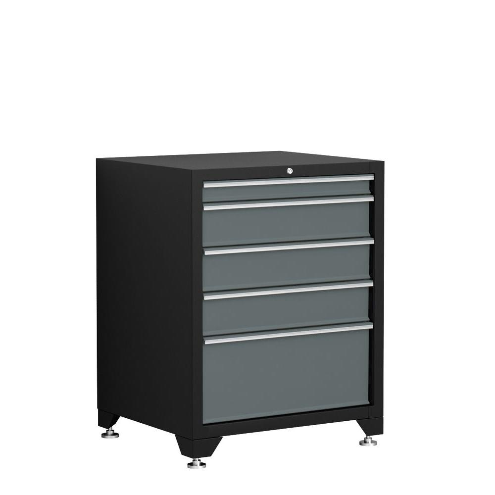NewAge Products Pro Series 35 in. H x 28 in. W x 24 in. D 5-Drawer 18-Gauge Welded Steel Tool Chest in Gray