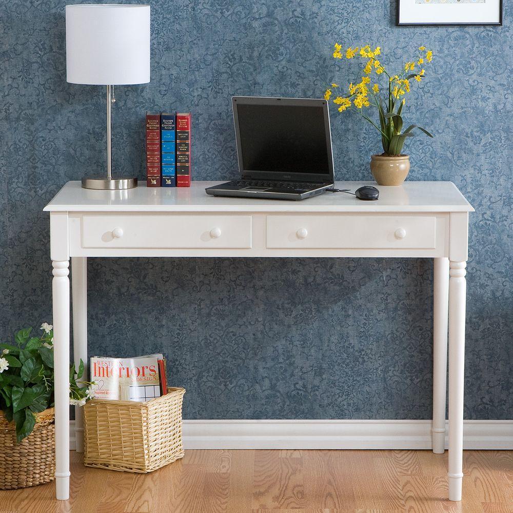 Crisp 2 Drawer Writing Desk In White Ho8800 The Home Depot