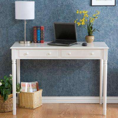 Crisp 2 Drawer Writing Desk In White