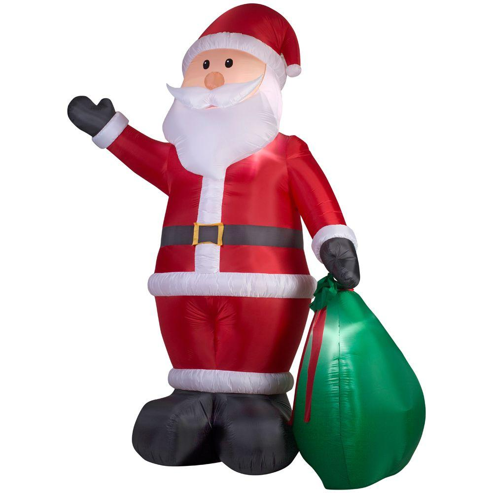 Home Accents Holiday 12 ft. Lighted Inflatable Santa with Gift Sack