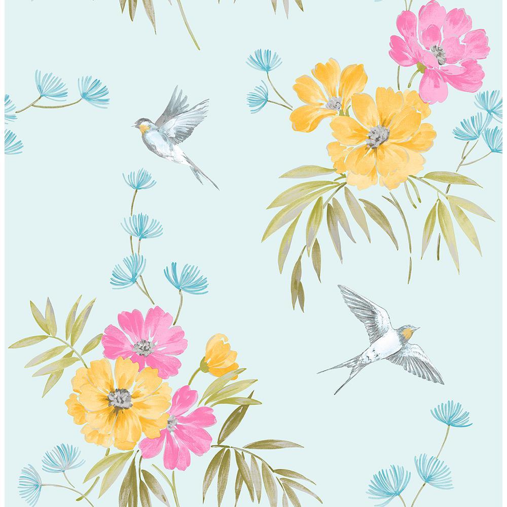 Fine Decor 56 4 Sq Ft Riva Blue Floral Wallpaper 2900 41590
