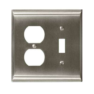 Candler 1-Toggle and 1-Duplex Outlet Combination Wall Plate, Satin Nickel