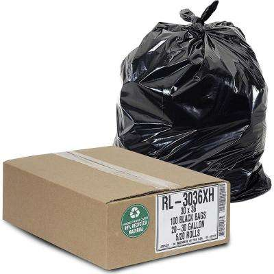 """20-30 Gallon Trash Can Liners (100 Count) - 30"""" x 36"""" - Thick 1.5 MIL Equivalent Black Trash Bags"""