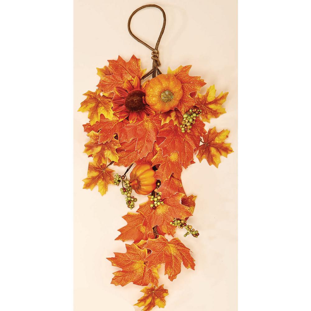 22 in. WP Sunflower Leaf and Pumpk in Teardrop