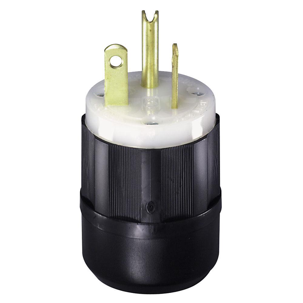 20 Amp 125-Volt Straight Blade Grounding Plug, Black/White
